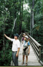 Ollie-Buckles-Sandra-Schmid-and-Deno-Contos-hiking-Lake-Moultrie-Passage-Palmetto-Trail-SC-1999