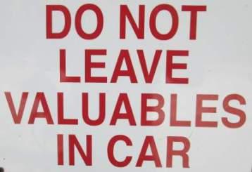 Do-not-leave-valuables-in-car-sign-Sacramento-River-Rail-Trail-Redding-CA-4-20-2016