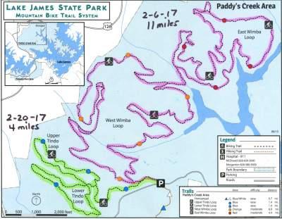 2017 Lake James mtn bike trails map
